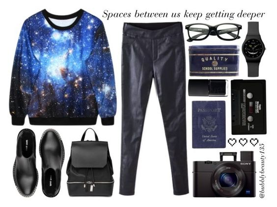 """Spaces Between Us"" by bubblybeauty135 ❤ liked on Polyvore featuring COSTUME NATIONAL, Miu Miu, FOSSIL, Passport, NARS Cosmetics, CASSETTE and Retrò"