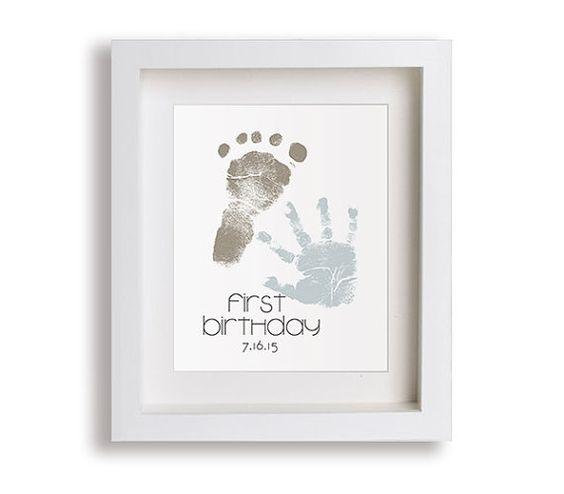 Premier anniversaire Art Print - main personnalisé et empreintes - 5 x 7 - décor personnalisé, déco enfants, souvenir, empreinte, empreinte de la main