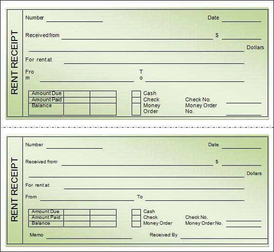 Printable Receipt Template Excel