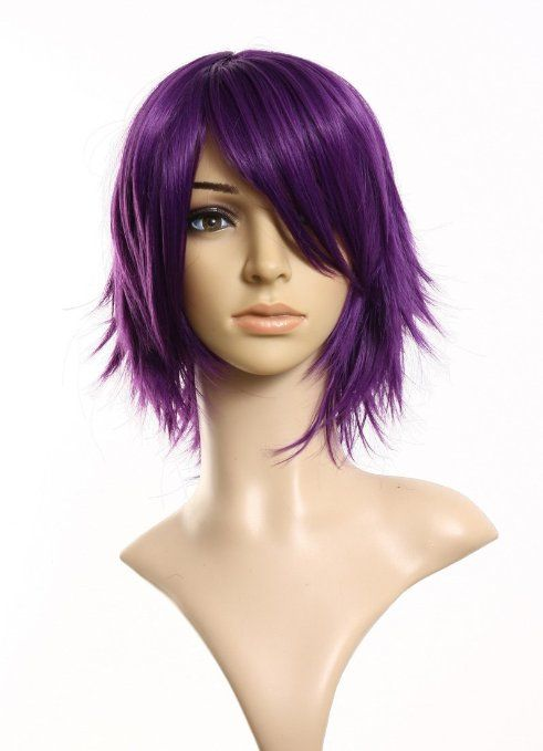 Cospiayland - C197 40cm layered filp out heat-resist Theater Cosplay wig- Purple
