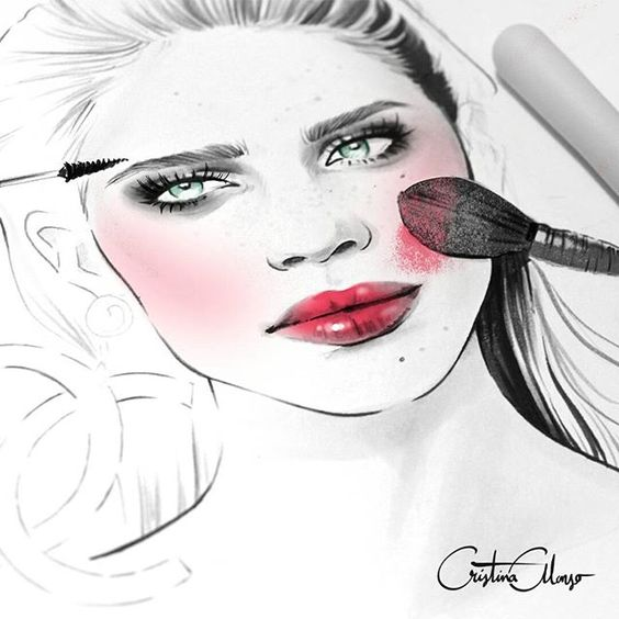 Backstage makeup!  Work In Process... #cristinaalonso #illustration #illustrator #fashion #fashionillustration #fashionillustrator #drawing #art #sketch #greeneyes #hair #style #beauty #makeup #makeupartist #backstage #brushes #blush #lipstick #cateyes #smokeyeyes #redlips #brush #yachiyo #brows #blogger #fashionblogger #beautyblogger #beautyillustration