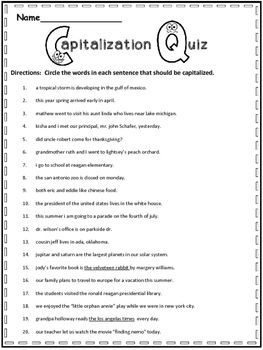 capitalization test 2nd grade 1000 ideas about grammar. Black Bedroom Furniture Sets. Home Design Ideas