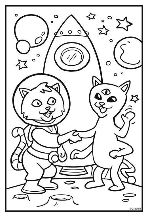 Cosmic Cats Alien Hello On Crayola Com Dinosaur Coloring Pages