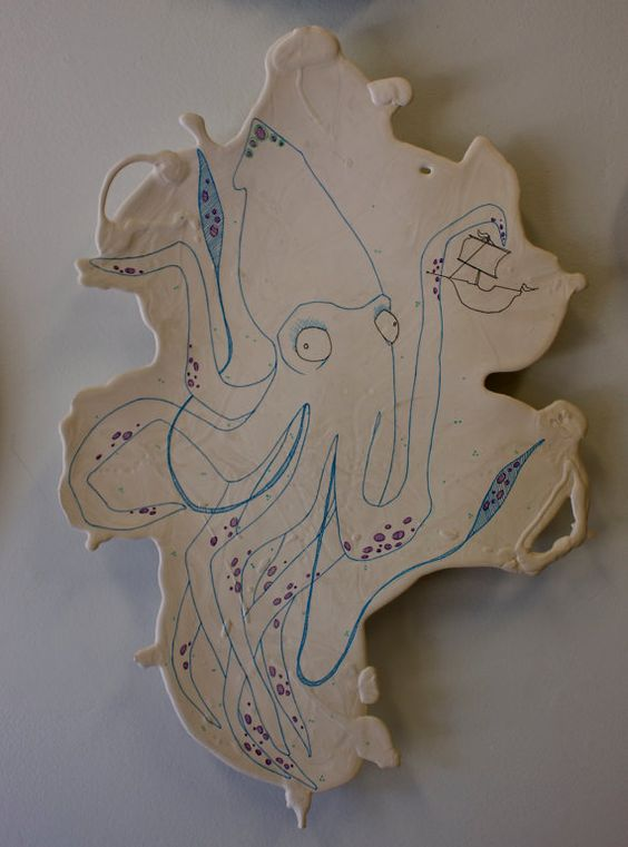 Whimsical Giant Squid Ceramic Drawing by Cranbrook Ceramics Student, $200.00