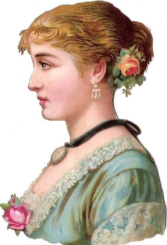 Oblaten Glanzbild scrap die cut chromo Dame 12cm lady femme buste girl head Frau: