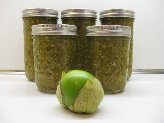 Five jars of tomatillo salsa