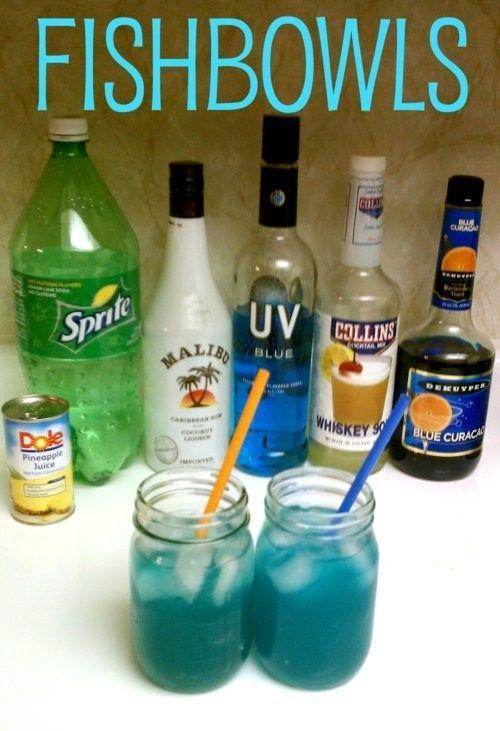 Fishbowls -- 2 oz vodka / 1 oz coconut rum / 1 oz blue curacao / 1 oz sour mix / 2 oz pineapple juice / 3 oz sprite