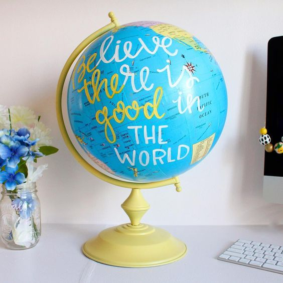 """Well hello new globe  and welcome to my #Etsyshop  These colors are so perfect together, and they transform a white wall into a cozy and colorful…"""