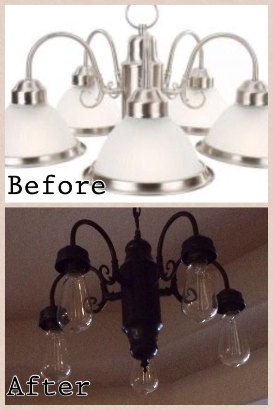 Diy lighting update all you need is a can of spray paint for Diy edison light fixtures