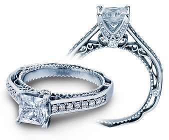 VENETIAN-5035P engagement ring from the Venetian Collection, featuring 0.35ct. of pave' set round brilliant-cut diamonds to enhance a princess cut diamond center.