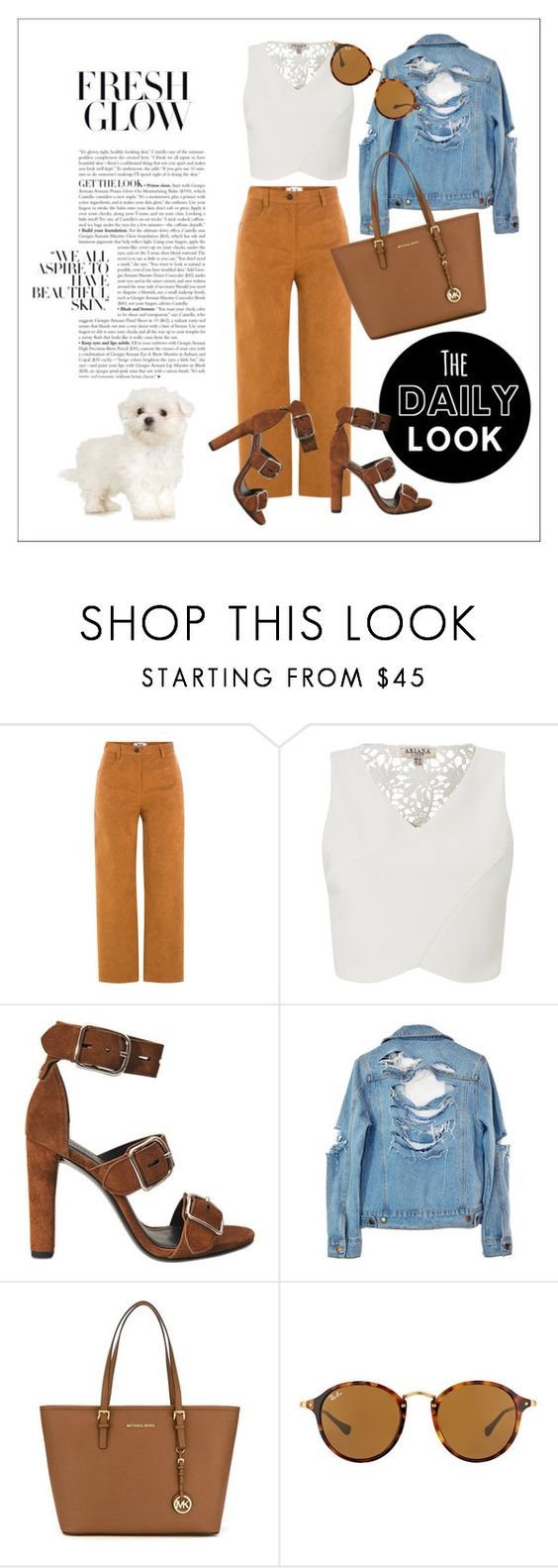 """""""The daily look..."""" by fawn-fleur ❤ liked on Polyvore featuring MSGM, Lipsy, Alexander Wang, High Heels Suicide, MICHAEL Michael Kors and Ray-Ban"""