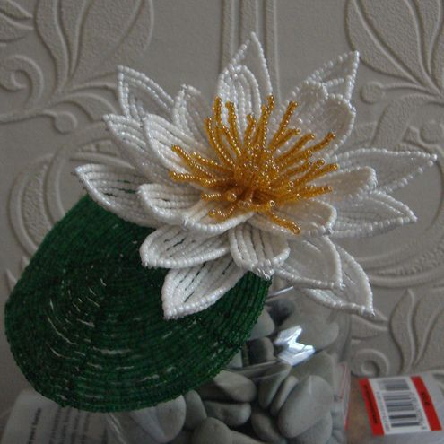 french beaded water lily pattern | Beautiful French Beaded Flower White Water Lily - Folksy