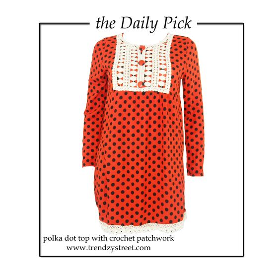 Today's ‪#‎theDailyPick‬ features a cute Polka Dot Top which can be worn as a dress too! ‪#‎ootd‬ ‪#‎fashion‬ ‪#‎fall13‬ ‪#‎fashionblog‬ ‪#‎trendzystreet‬ ‪#‎shopping‬ ‪#‎love‬ ‪#‎polkadots‬ ‪#‎cute‬ Buy here- http://www.trendzystreet.com/clothing/york-patchwork-top-tzs5887