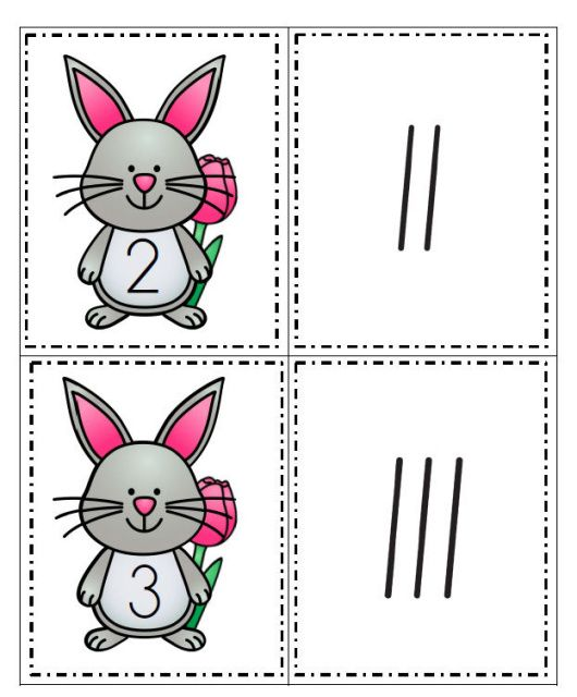 Set of spring bunny cards, numbered from 0-20, and a set of tally marks, from 0-20.
