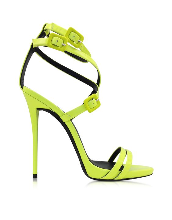 Giuseppe Zanotti Neon Yellow Leather Ankle Strap Sandal | Neon