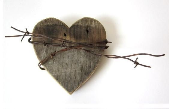 Old Heart barn wood sign rusty barbed wire by TheLonelyHeart, $28.00