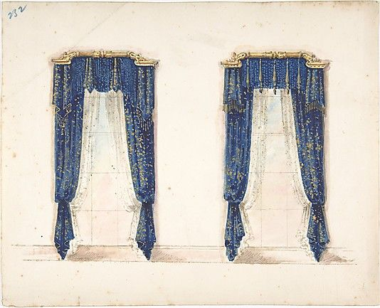 Design for Blue and Gold Curtains with Gold Fringes and a Gold Pediment  Anonymous, British, 19th century / Ink, watercolor and wash