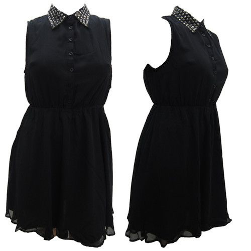 NEW LADIES TRENDY KNEE LENGTH STUD COLLARED BUTTON FRONT DRESS