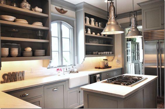 Sally Wheat's kitchen. Cabinet color: Benjamin Moore Fieldstone.