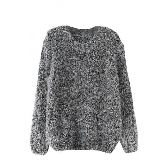Plain Long Sleeve Mohair Knitting-needle Sweater with Round Neckline (€10) ❤ liked on Polyvore featuring tops, sweaters, long sleeve tops, long sleeve knit tops, mohair sweater, knit tops y long sleeve knit sweater