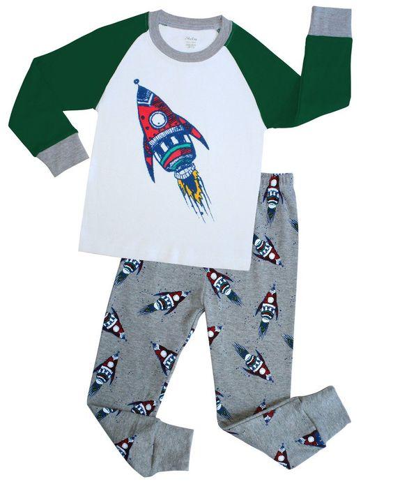 Boys Pajamas Christmas Children Rocket Clothes Kids Pjs Pants Set ...