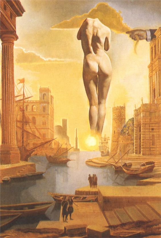Dali's Hand Drawing Back the Golden Fleece in the Form of a Cloud to Show Gala,Completely Nude,the Dawn,Very,Very Far Away Behind the Sun, by Salvador Dali - 1977 - Surrealism