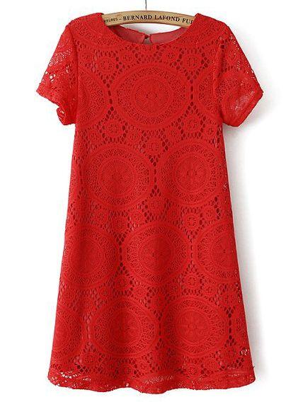 Rotes lockeres Kurzarm Hohle-Kleid aus Spitze 16.91