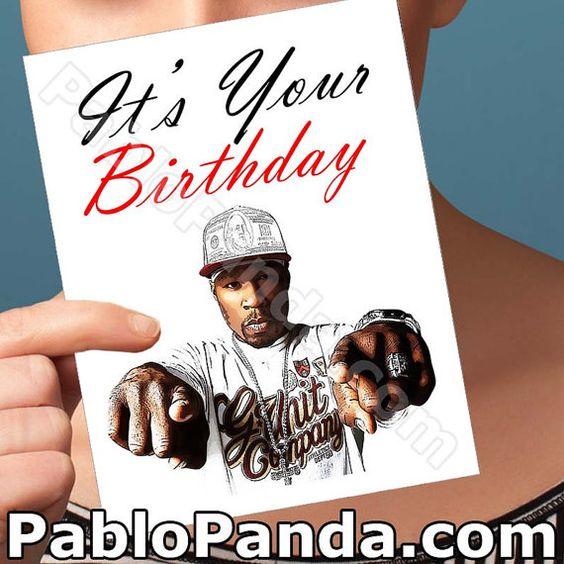 Funny Birthday Card  50 Cent Card  Funny Birthday by PabloPanda