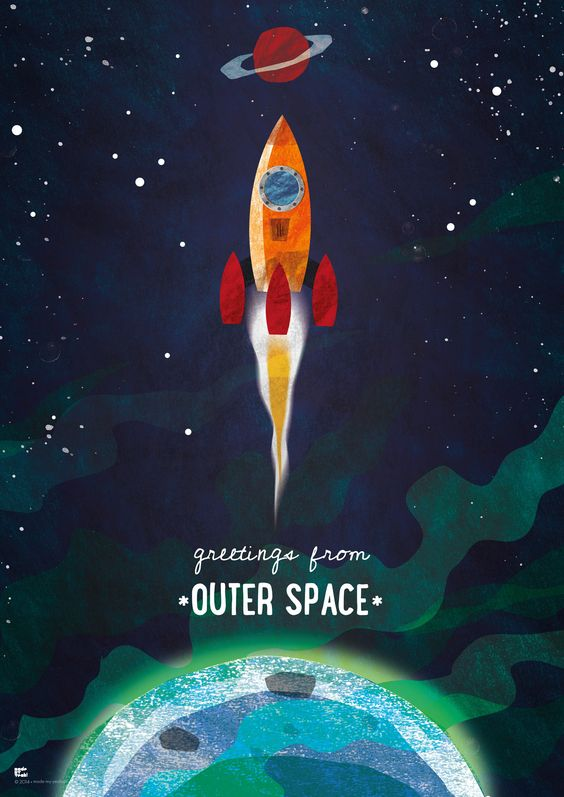 "Kinderzimmer-Poster ""Greetings from Outer Space"" mit Rakete, Sternen und Planeten …"
