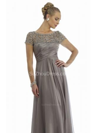 USD$199.00 - Grey Mother of the Bride Dresses Scoop Beading Floor Length Elegant Zipper A Line Chiffon Evening Gowns - www.suzhoudress.com