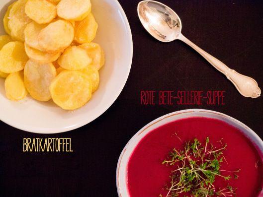 Rote Bete-Sellerie-Suppe mit Kren & Bratkartoffeln