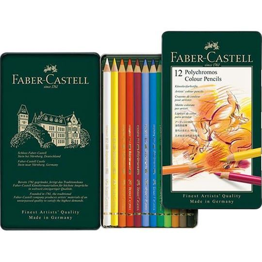 Faber Castell Polychromos 12 Color Pencil Tin Set Colored