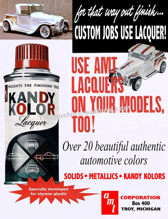 Model cars deserve lacquer paint, just like the real cars.  Courtesy of www.tnjpostercreations.com: