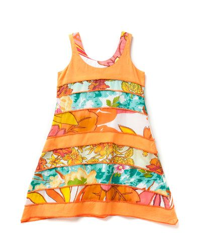 beetlejuice london Girls' 'Boho Chic' Patch Print Dress (2T-8)