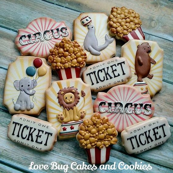 One more picture because I just really love these!  #vintage #circus #lion #elephant #seal #bear #popcorn #lovebugdesign #birthday #lovebugcookies #decoratedcookies #loudouncounty #leesburg #southriding #ashburn #gifts #cookieart #cute #cookies #pretty #cookieclasses #cookiedecoratingclass