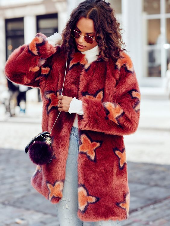 Wrap Me Up faux fur star-print jacket/coat for fall.