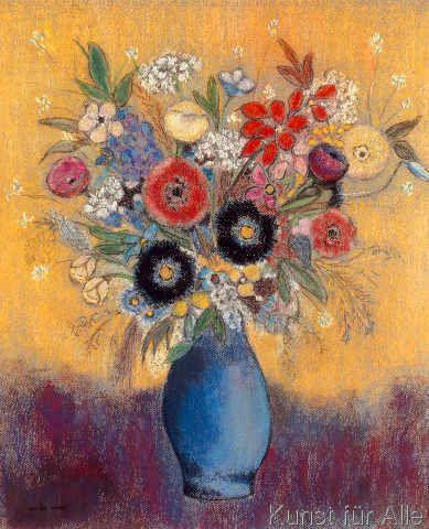 Odilon Redon - Fleurs dans un vase bleu