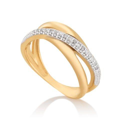 Anel em ouro amarelo 18k, ouro branco 18k e 8,5 pts de diamante. Joias Vivara. Coleção Gold.