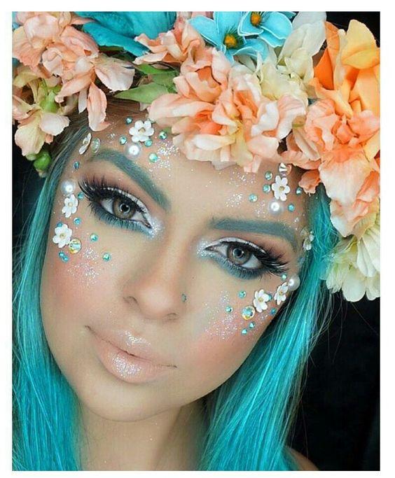 Sans les fleurs sur le visage Une couronne de fleurs pour le shooting ?