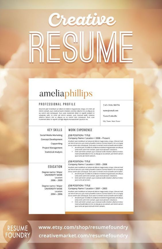 Modern Resume Template   CV Template + Cover Letter for MS Word - Eye Catching Resume