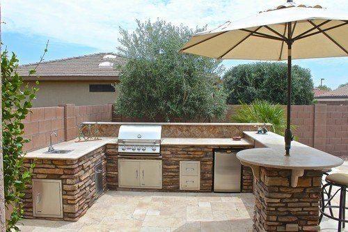 Arizona U Island Plan Outdoor Kitchen Design Backyard Barbeque Patio