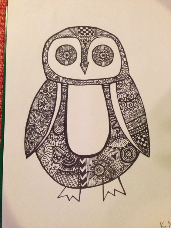 Sharpie zentangle penguin. #zentangle #zendoodle #penguin #sharpie #sharpieart