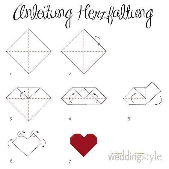 origami herz falten als lesezeichen oder serviette heart. Black Bedroom Furniture Sets. Home Design Ideas