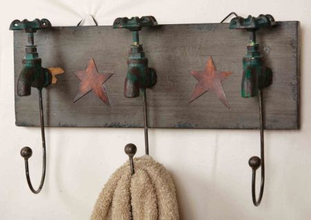 Old Faucet Bath Hooks    http://www.ebay.com/itm/New-Primitive-Country-Rusty-Star-Bath-FAUCET-TOWEL-HOOK-Bathroom-Wall-Hooks-/360439423504?pt=Folk_Art&hash=item53ebdd2210#ht_2926wt_974