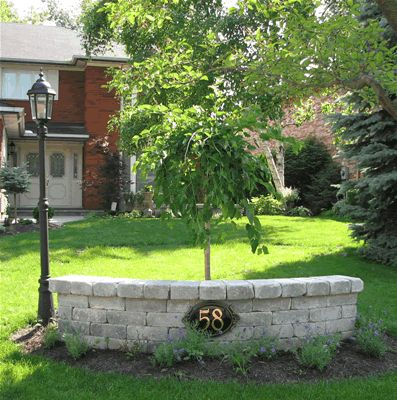 Retaining wall ideas roger 39 s landscaping outside for Small trees for corner of house