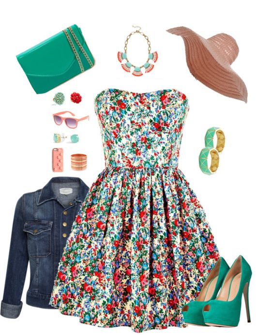 """floral pink jade green"" by pam4273 on Polyvore"