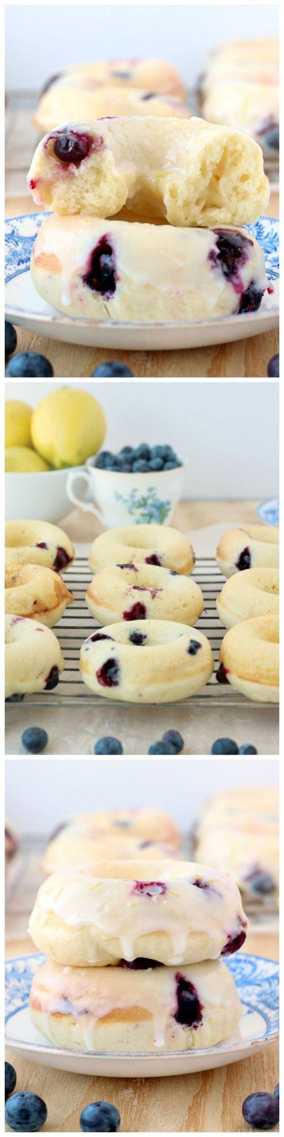 Baked Lemon Blueberry Doughnuts #brunch
