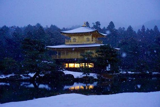 Winter night at Kinkakuji.