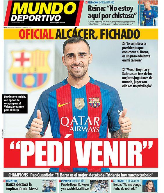 Portada Mundo Deportivo, miércoles 31 de agosto de 2016