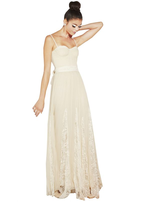 The cream shade makes this look like a wedding dress, but definitely an interesting piece. The bustier detail might be a bit rique... // GENEVA BUSTIER FLARE PLEAT MAXI DRESS | Alice + Olivia |